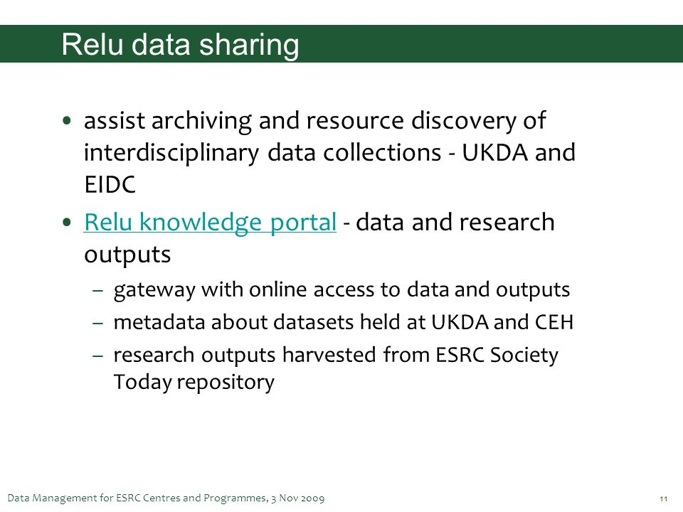 Relu data sharing assist archiving and resource discovery of interdisciplinary data collections - UKDA and EIDC.