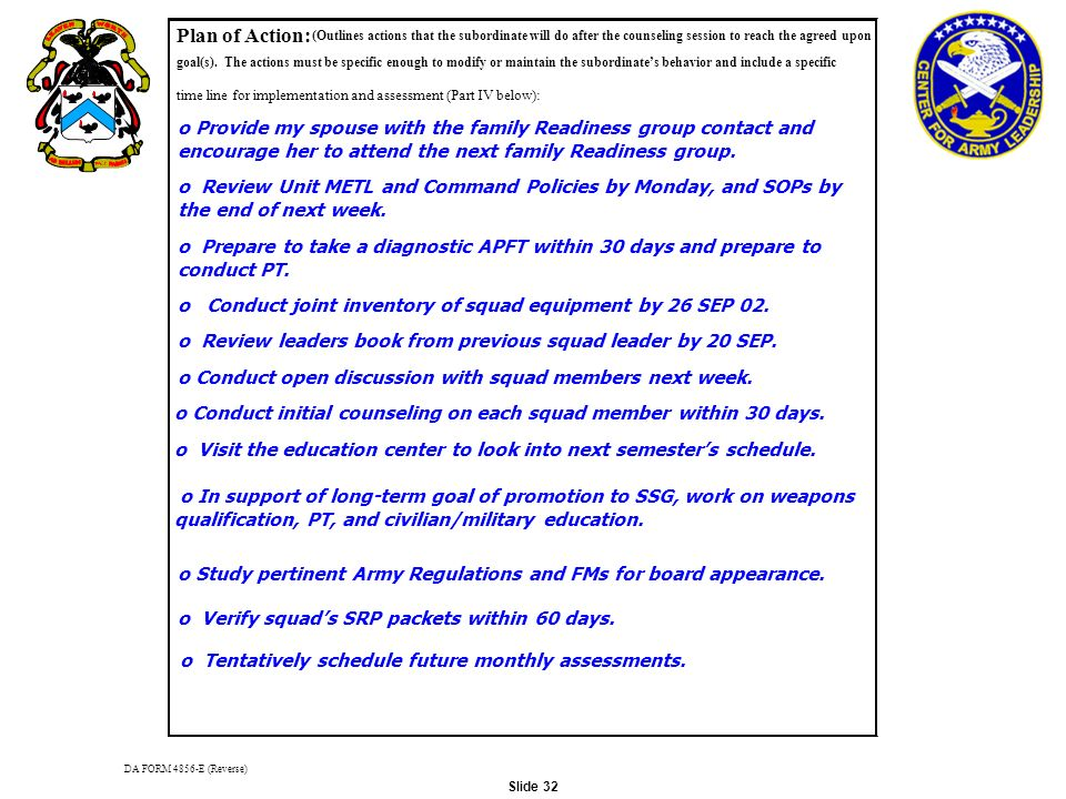 Plan Of Action DA FORM 4856 E Reverse Outlines Actions That