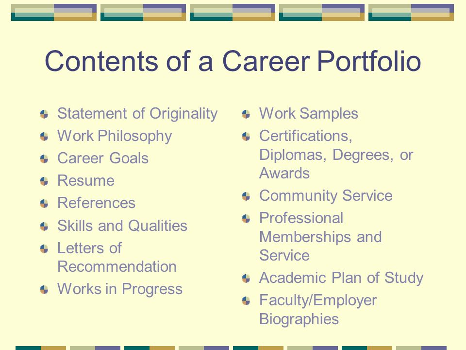 Career Portfolios  - ppt video online download