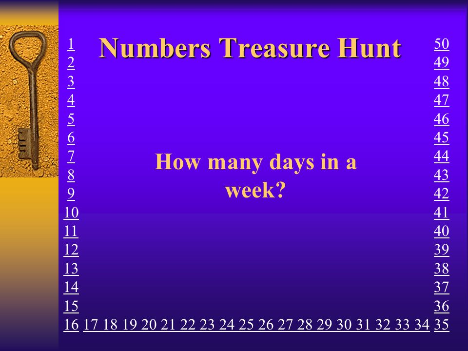 Numbers Treasure Hunt How many days in a week