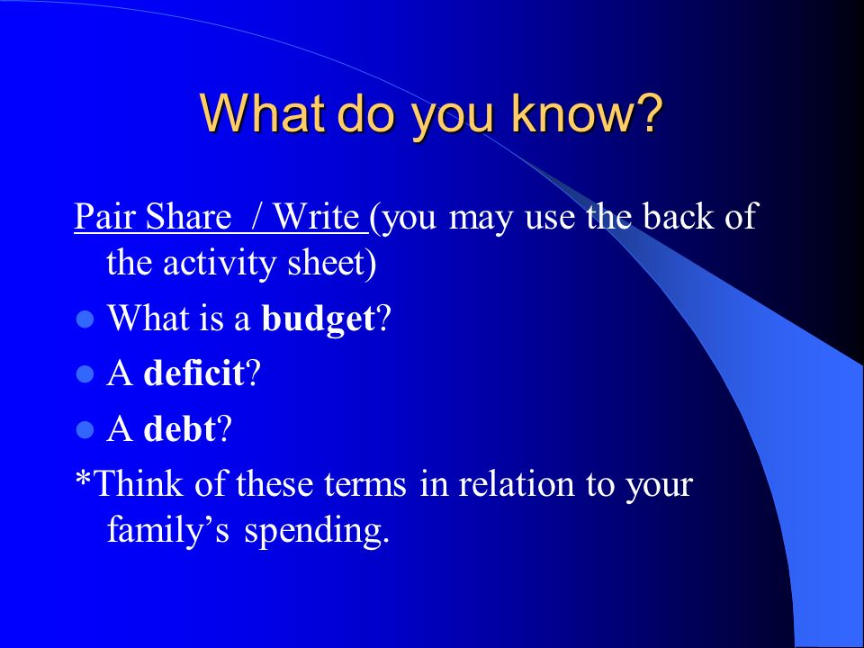 What do you know Pair Share / Write (you may use the back of the activity sheet) What is a budget