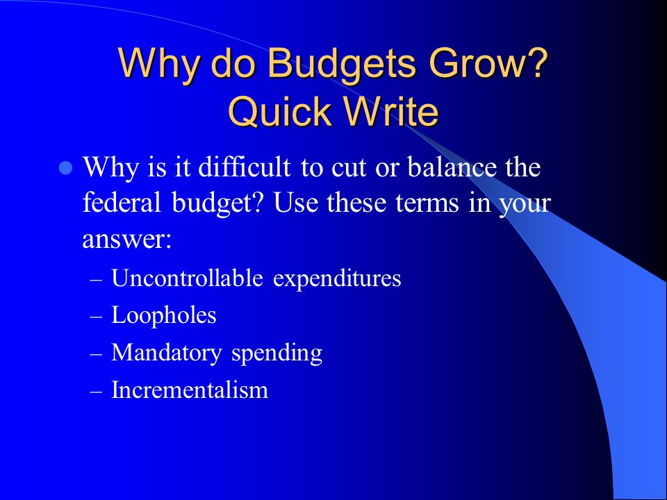 Why do Budgets Grow Quick Write
