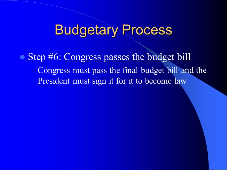 Budgetary Process Step #6: Congress passes the budget bill