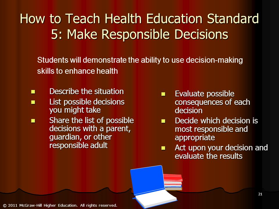 How to Teach Health Education Standard 5: Make Responsible Decisions