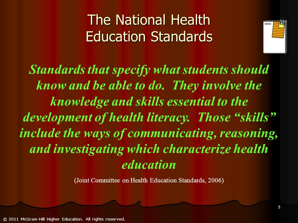 The National Health Education Standards