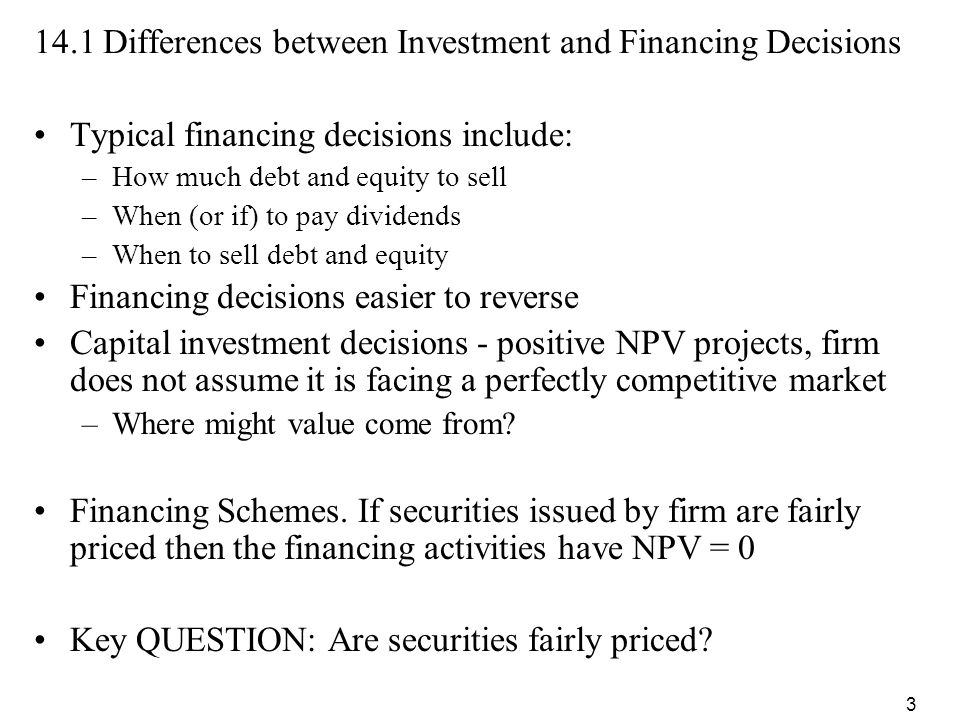 141 Differences Between Investment And Financing Decisions