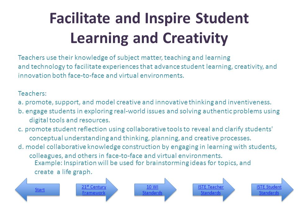 Facilitate and Inspire Student Learning and Creativity
