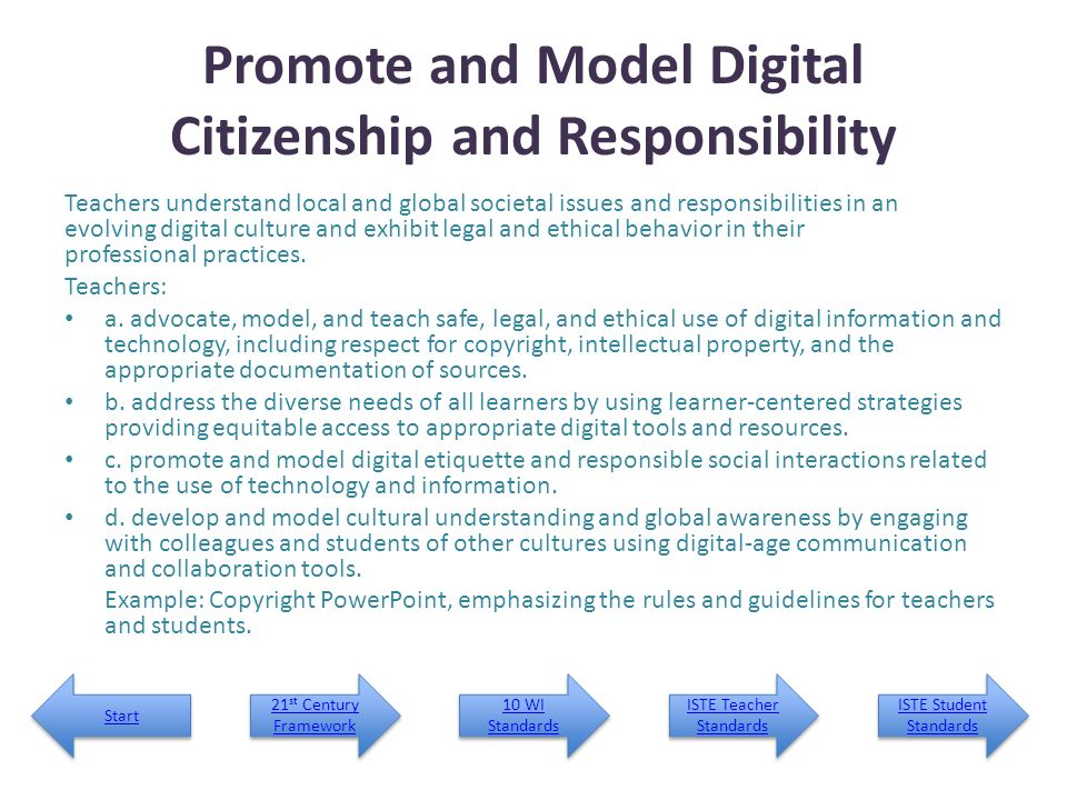 Promote and Model Digital Citizenship and Responsibility