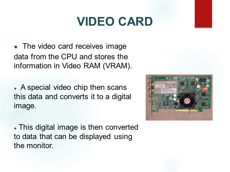 VIDEO CARD The video card receives image