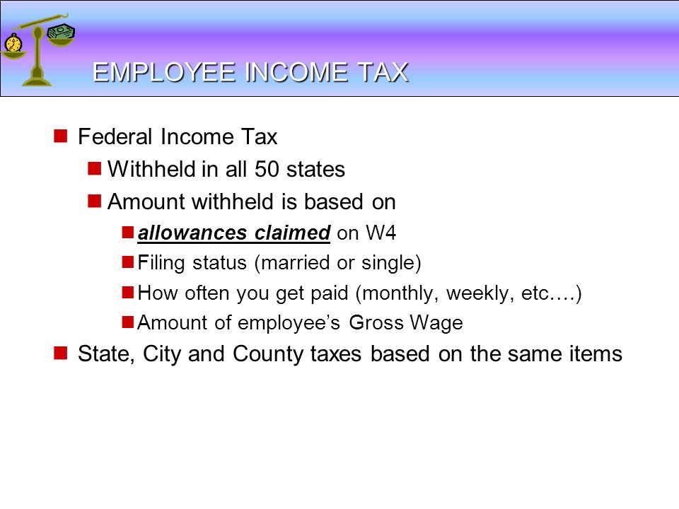 EMPLOYEE INCOME TAX Federal Income Tax Withheld in all 50 states