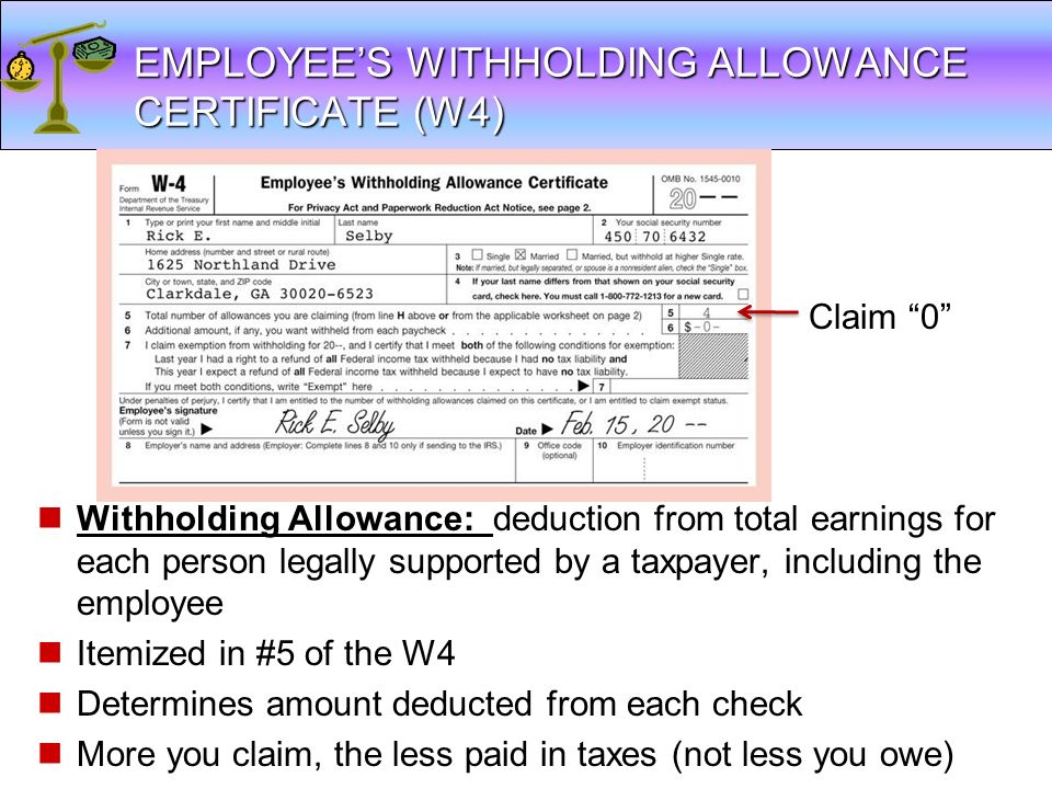 EMPLOYEE'S WITHHOLDING ALLOWANCE CERTIFICATE (W4)