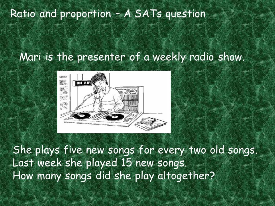 Ratio and proportion – A SATs question