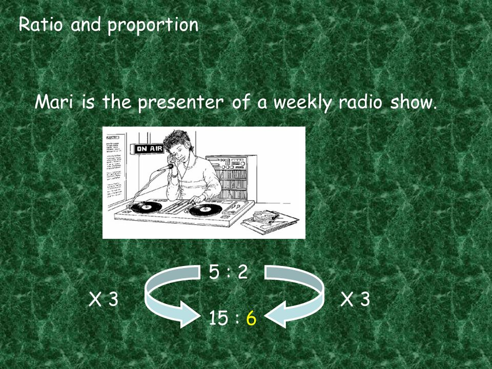 Ratio and proportion Mari is the presenter of a weekly radio show. 5 : 2 15 : 6 X 3 X 3