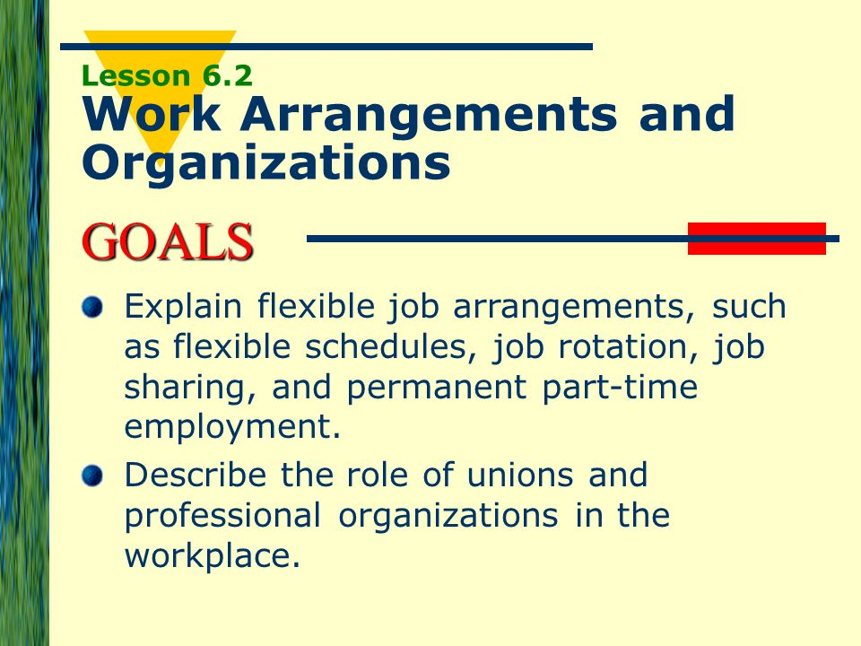 Lesson 6.2 Work Arrangements and Organizations
