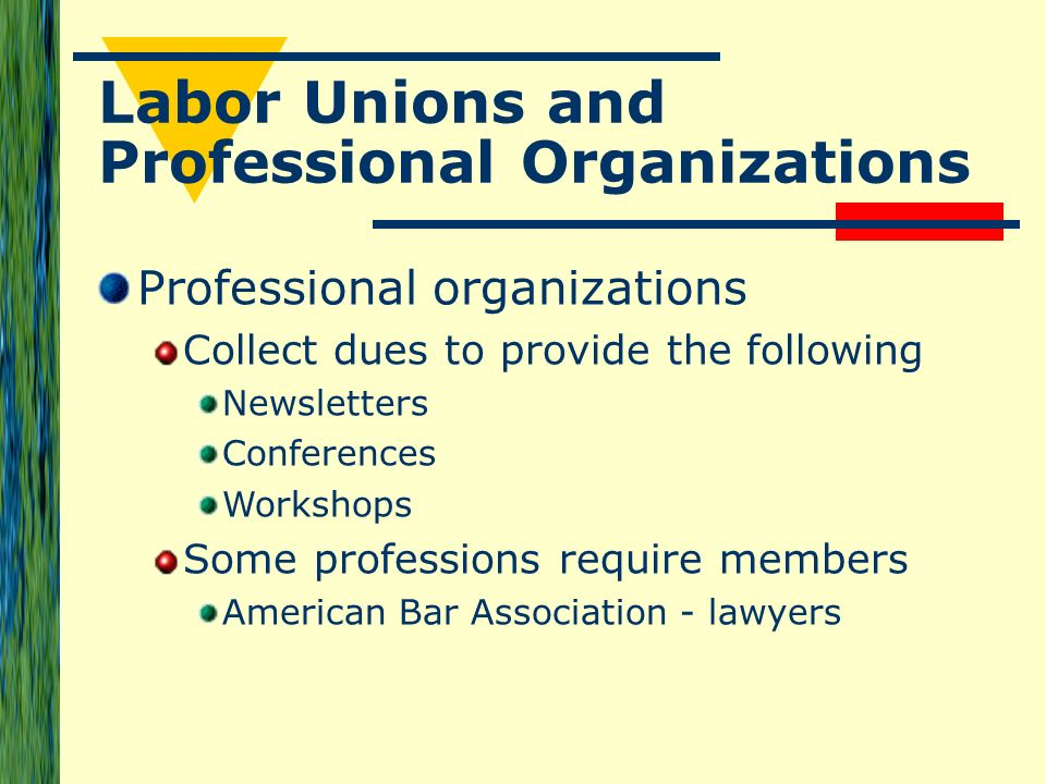 Labor Unions and Professional Organizations