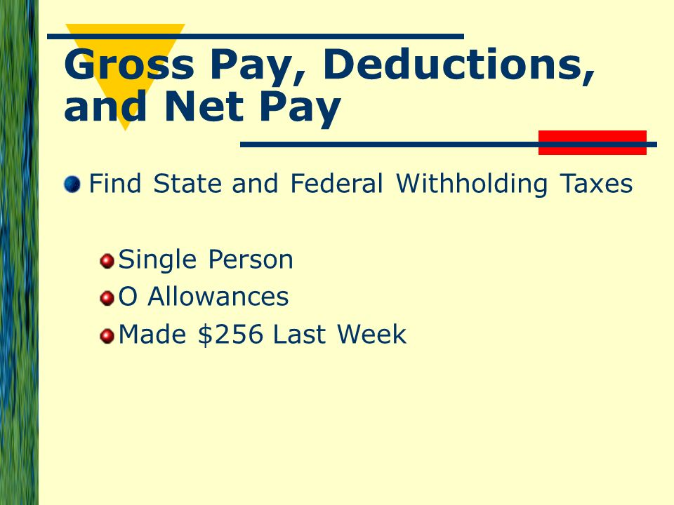 Gross Pay, Deductions, and Net Pay