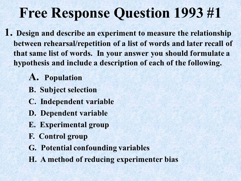AP Psychology Exam Free Response Questions - ppt download
