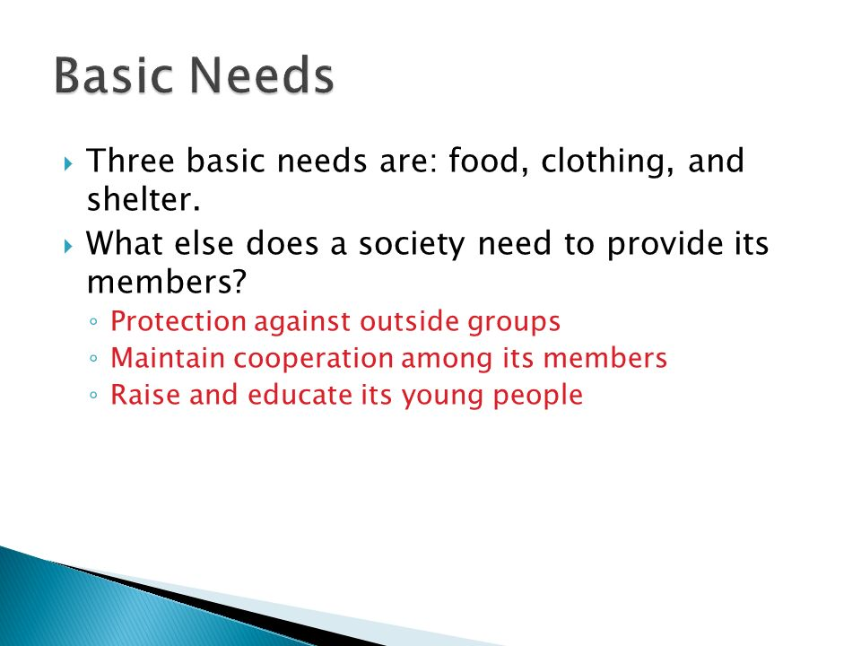 Basic Needs Three basic needs are: food, clothing, and shelter.