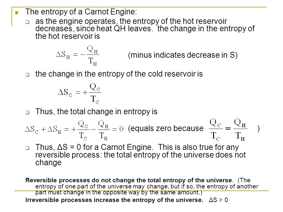 The entropy of a Carnot Engine: