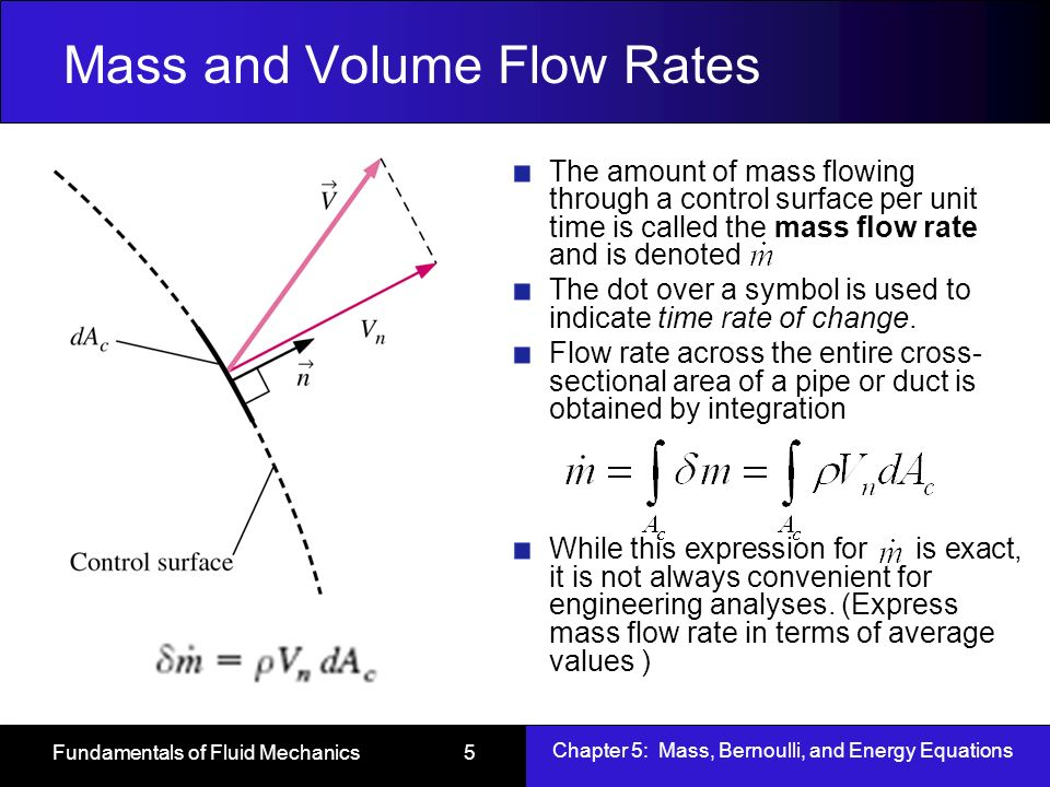 Chapter 5 Mass Bernoulli And Energy Equations Ppt Video Online