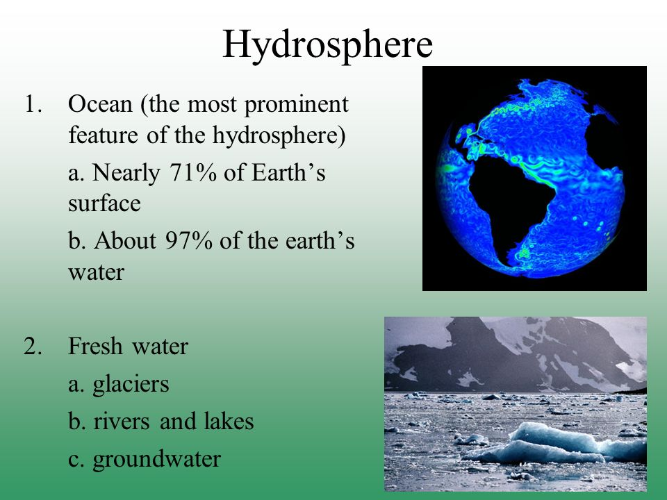Hydrosphere Ocean (the most prominent feature of the hydrosphere)