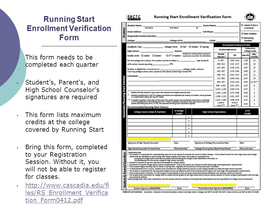 Running Start Enrollment Verification Form