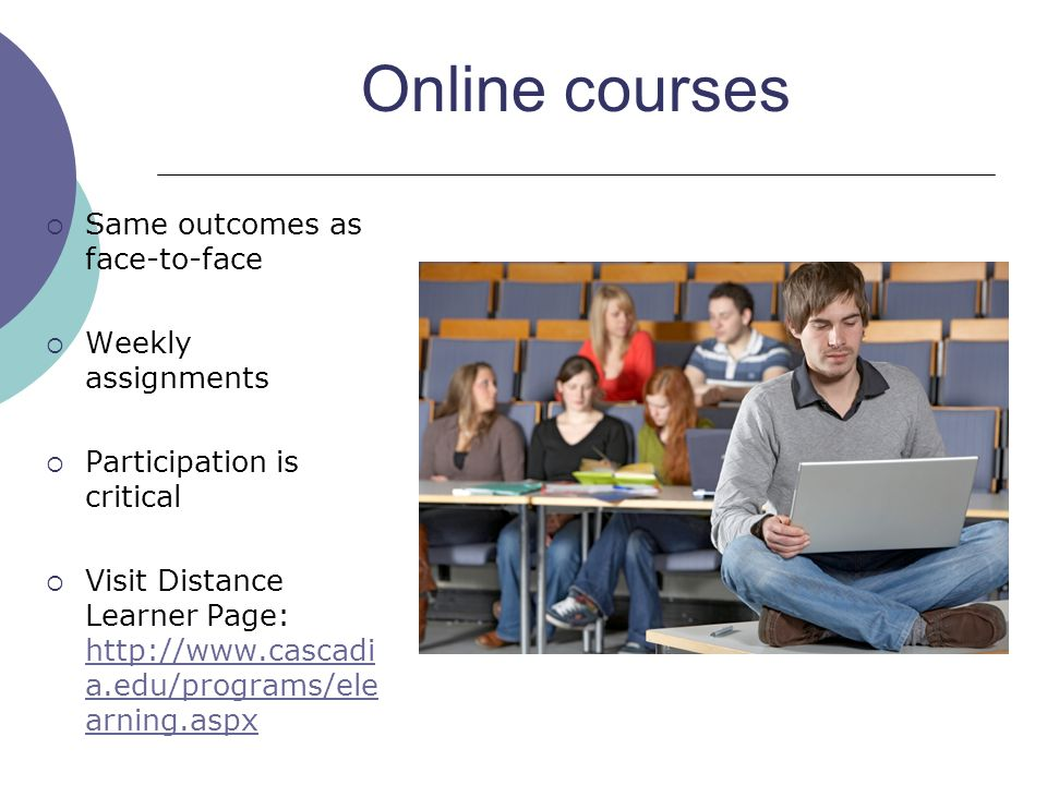 Online courses Same outcomes as face-to-face Weekly assignments