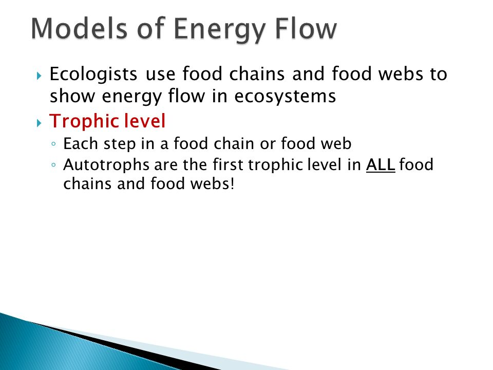 Models of Energy Flow Ecologists use food chains and food webs to show energy flow in ecosystems. Trophic level.