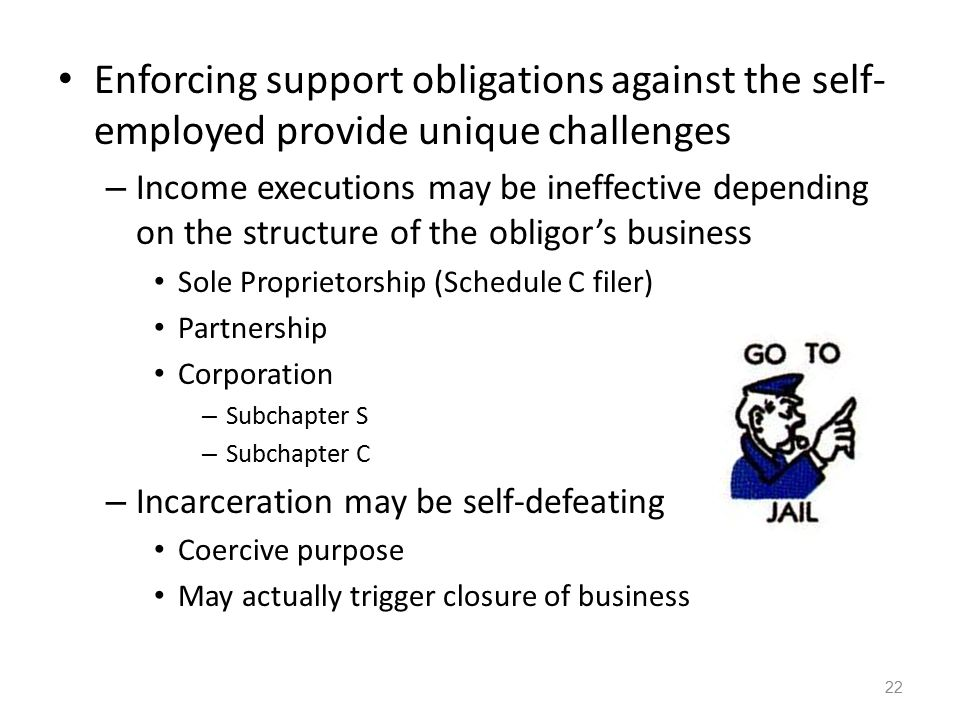 Enforcing support obligations against the self-employed provide unique challenges