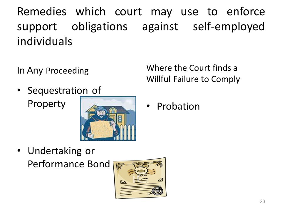 Remedies which court may use to enforce support obligations against self-employed individuals