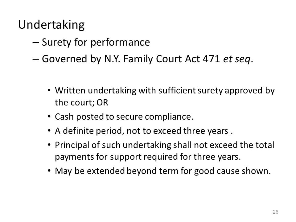Undertaking Surety for performance