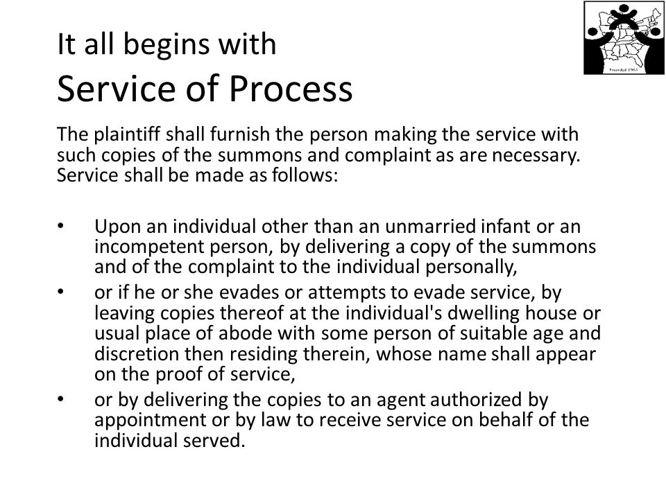 It all begins with Service of Process