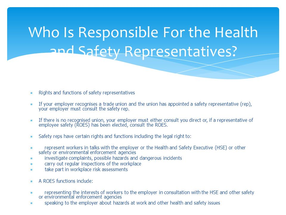 the roles and responsibilities for health and safety essay Roles and responsibilities for health and safety essay sample by admin in essay samples on august 15, 2017 explain the functions and duties for health and safety of cardinal forces in a selected workplace ( p3 ) there are many employees that have different health and safety functions to continue in concerns such as debenhams.
