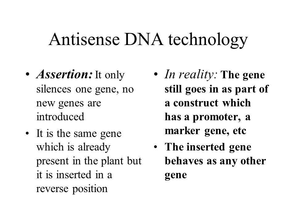 Antisense DNA technology