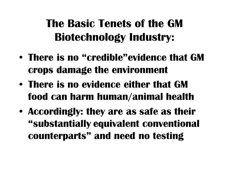 The Basic Tenets of the GM Biotechnology Industry: