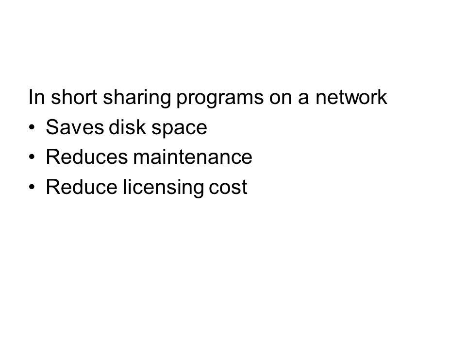In short sharing programs on a network