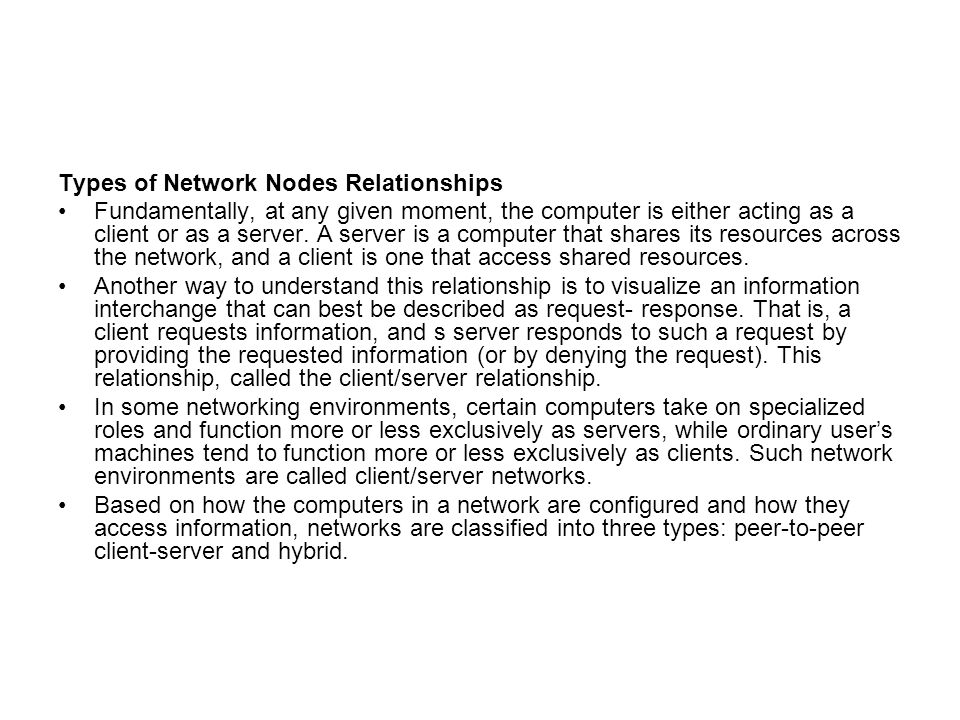 Types of Network Nodes Relationships