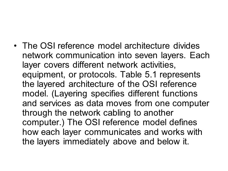 The OSI reference model architecture divides network communication into seven layers.