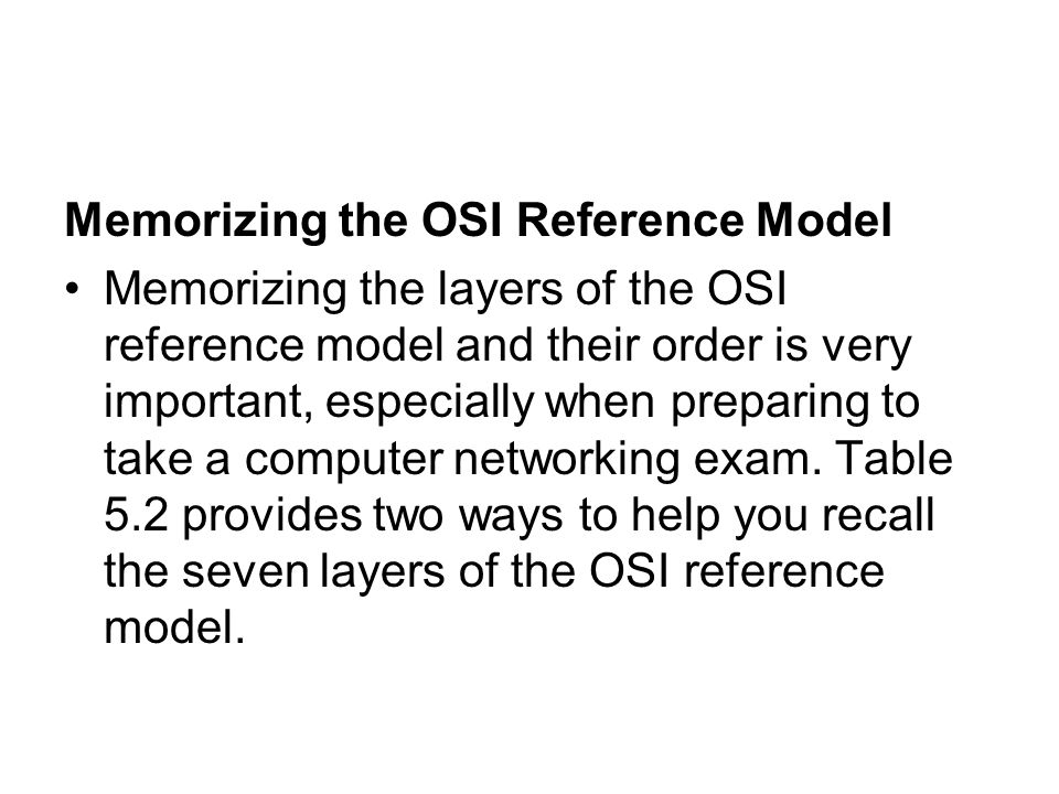 Memorizing the OSI Reference Model