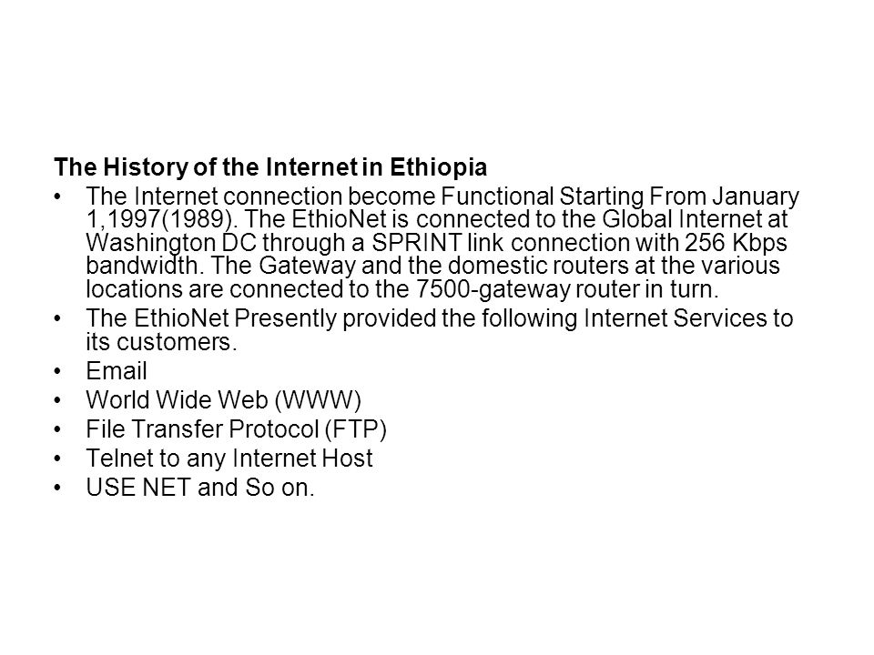 The History of the Internet in Ethiopia