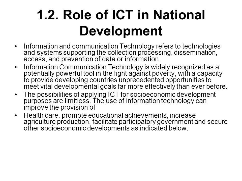 1.2. Role of ICT in National Development