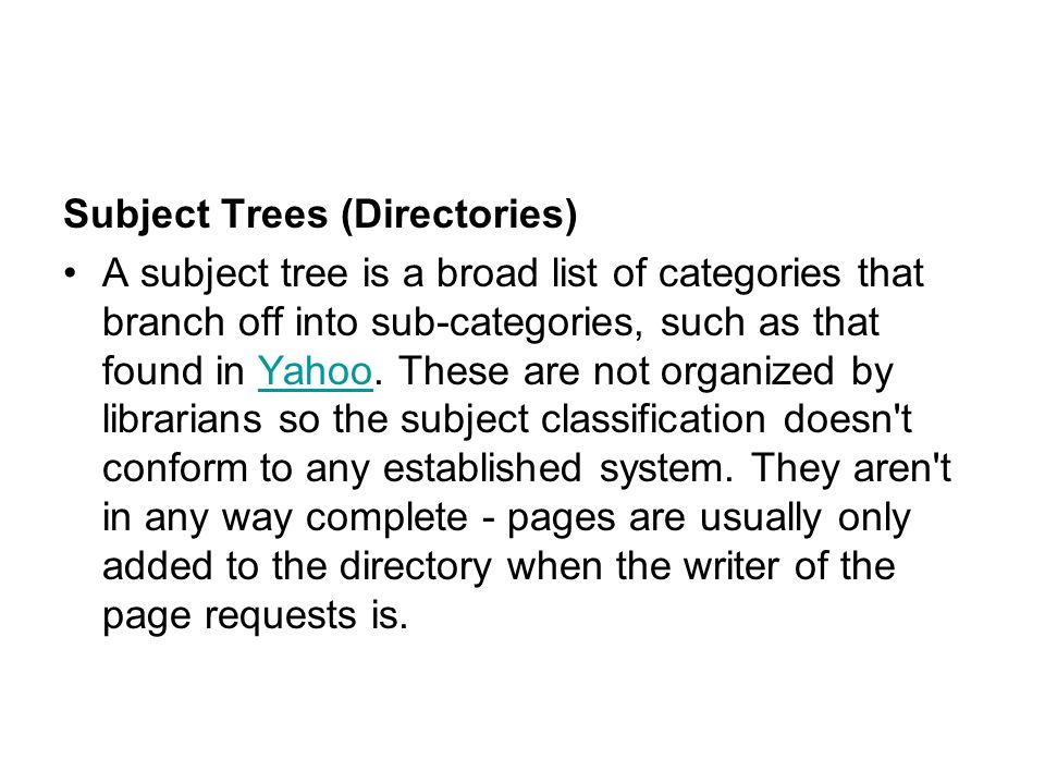 Subject Trees (Directories)