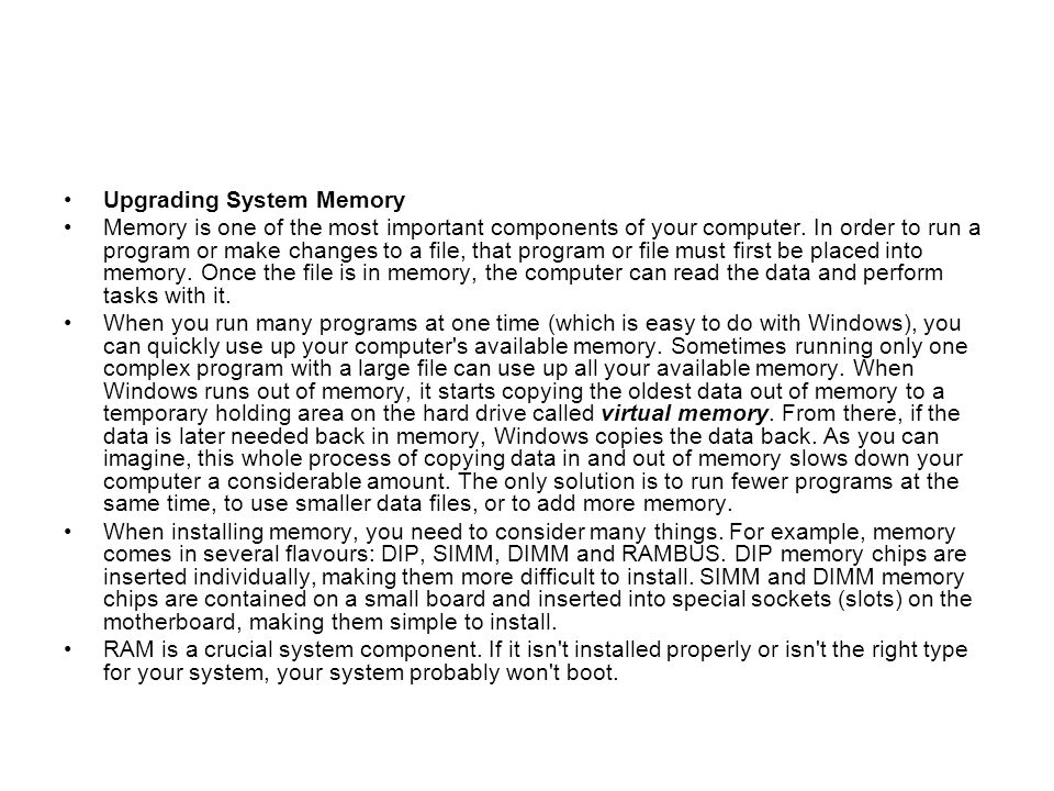Upgrading System Memory