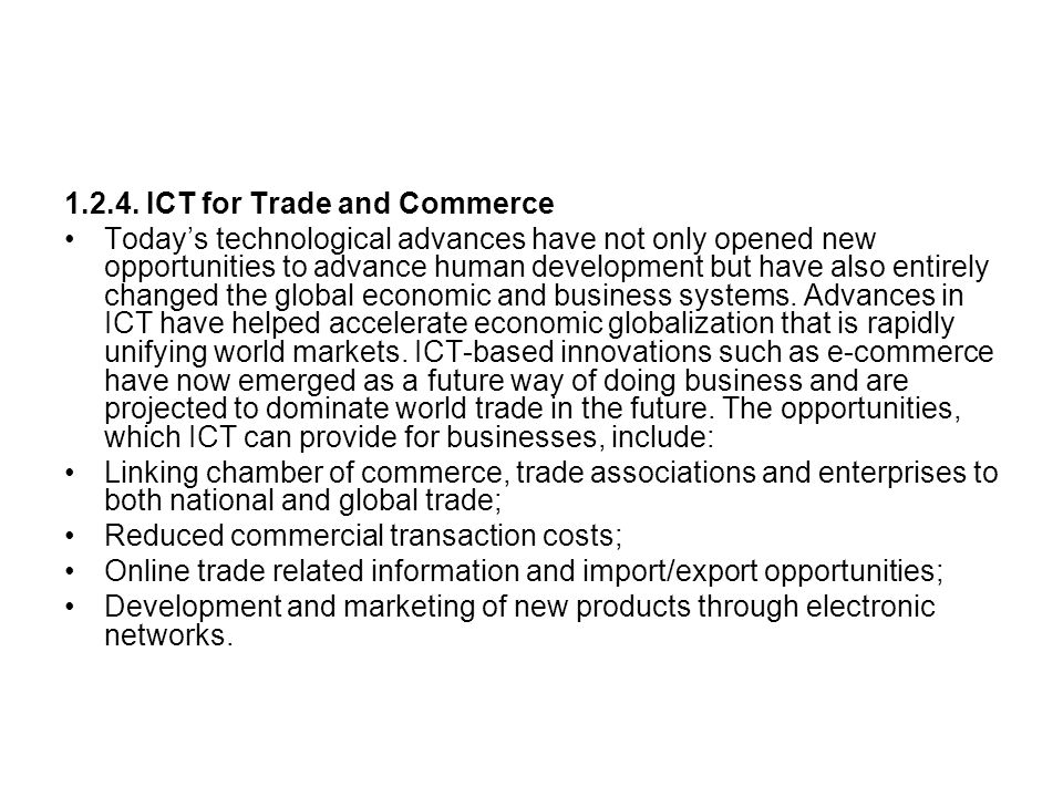 1.2.4. ICT for Trade and Commerce