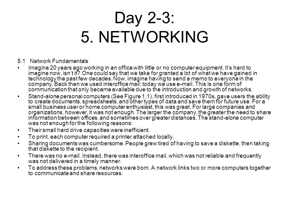 Day 2-3: 5. NETWORKING 5.1 Network Fundamentals