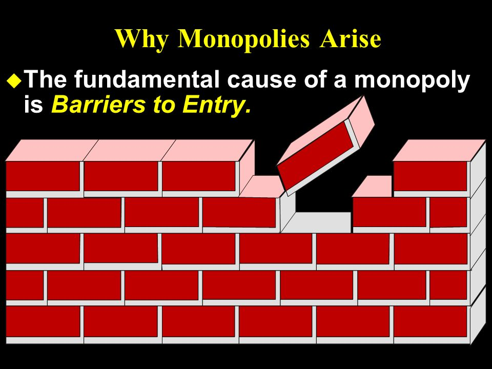 Why Monopolies Arise The fundamental cause of a monopoly is Barriers to Entry. 5