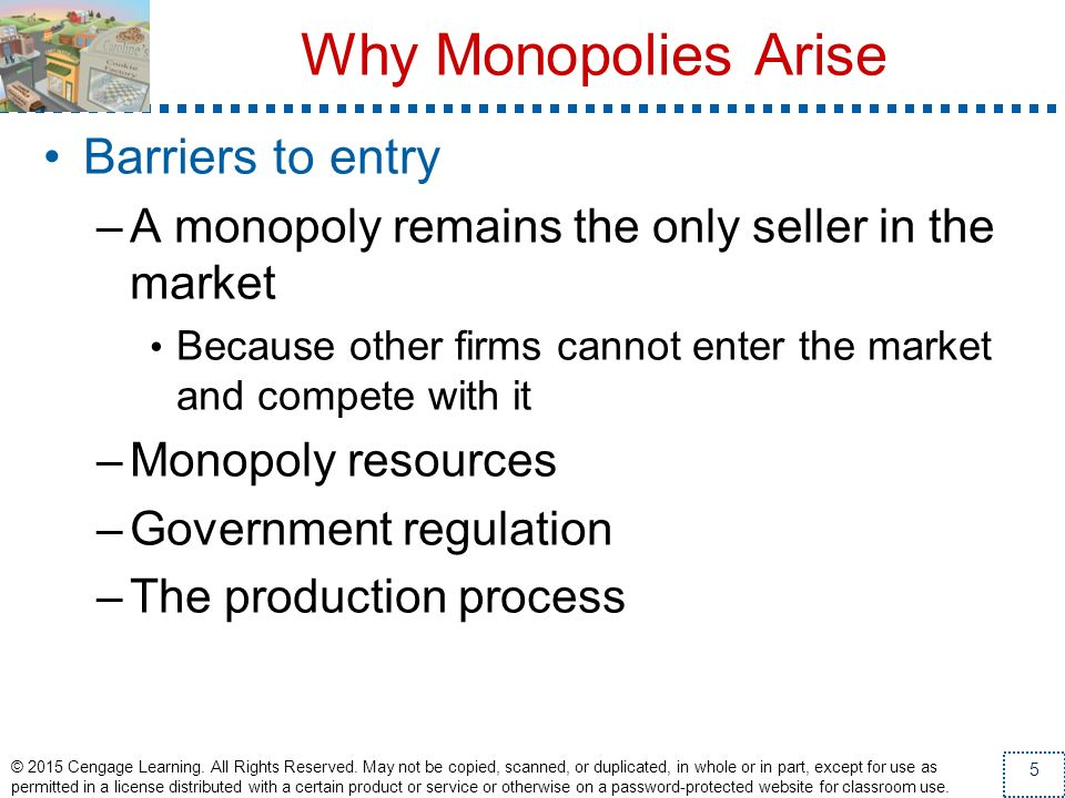 Why Monopolies Arise Barriers to entry