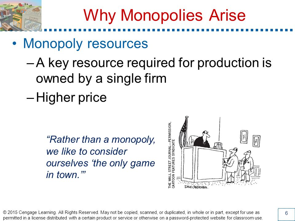 Why Monopolies Arise Monopoly resources