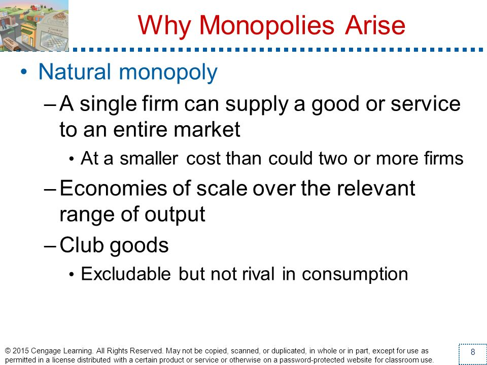 Why Monopolies Arise Natural monopoly