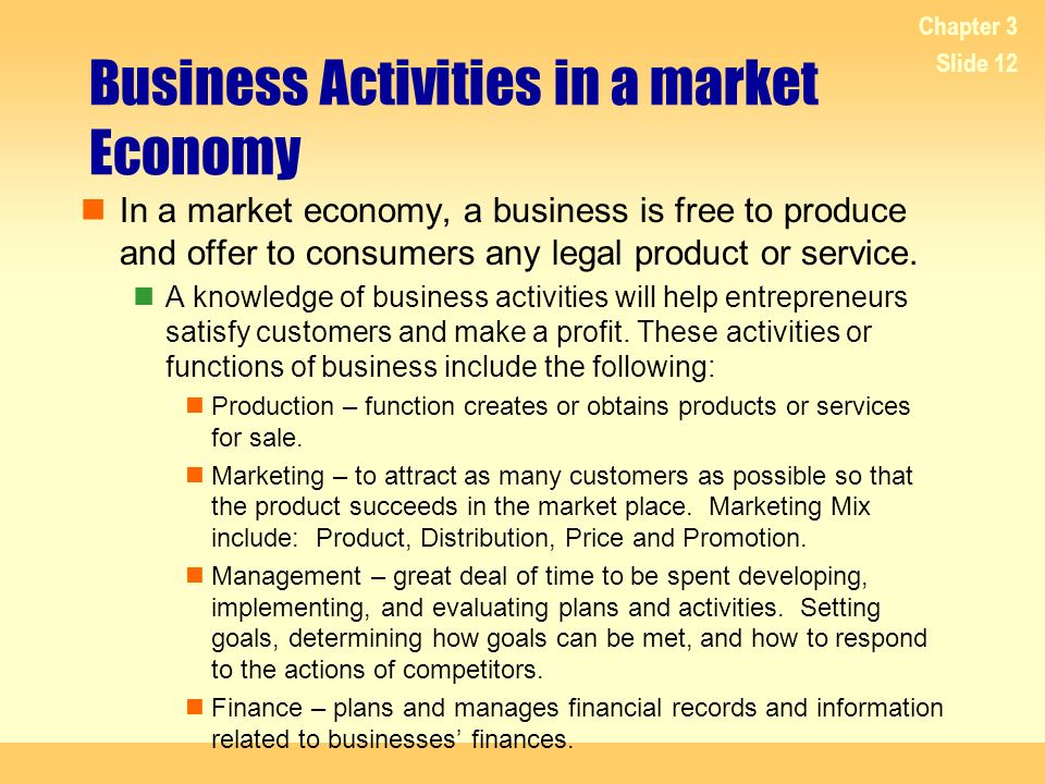 Business Activities in a market Economy